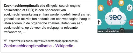 Featured Snippet voorbeeld