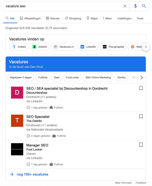 Google for Jobs Nederland